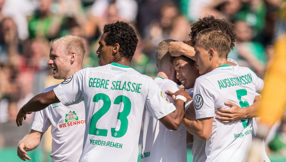 WORMS, GERMANY - AUGUST 18: Yuya Osako #8 of Werder Bremen celebrates after scoring a goal to make it 0-1 during Wormatia Worms and Werder Bremen DFB Cup first round match on August 18, 2018 in Worms, Germany. (Photo by Maja Hitij/Bongarts/Getty Images)