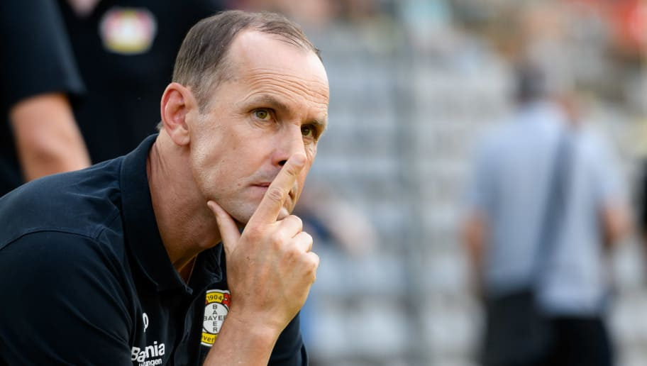 WUPPERTAL, GERMANY - JULY 24: coach Heiko Herrlich of Bayer Leverkusen looks on during the Friendly match between Wuppertaler SV and Bayer 04 Leverkusen on July 24, 2018 in Wuppertal, Germany. (Photo by TF-Images/TF-Images via Getty Images)