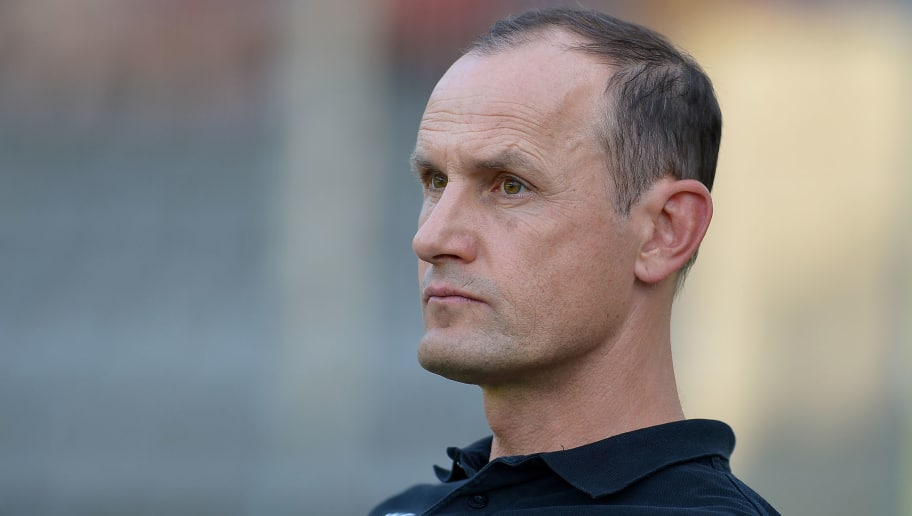 WUPPERTAL, GERMANY - JULY 24: Head coach Heiko Herrlich of Leverkusen looks on during the Friendly match between Wuppertaler SV and Bayer 04 Leverkusen on July 24, 2018 in Wuppertal, Germany. (Photo by TF-Images/Getty Images)
