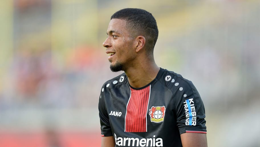 WUPPERTAL, GERMANY - JULY 24: Benjamin Henrichs of Leverkusen laughs during the Friendly match between Wuppertaler SV and Bayer 04 Leverkusen on July 24, 2018 in Wuppertal, Germany. (Photo by TF-Images/Getty Images)