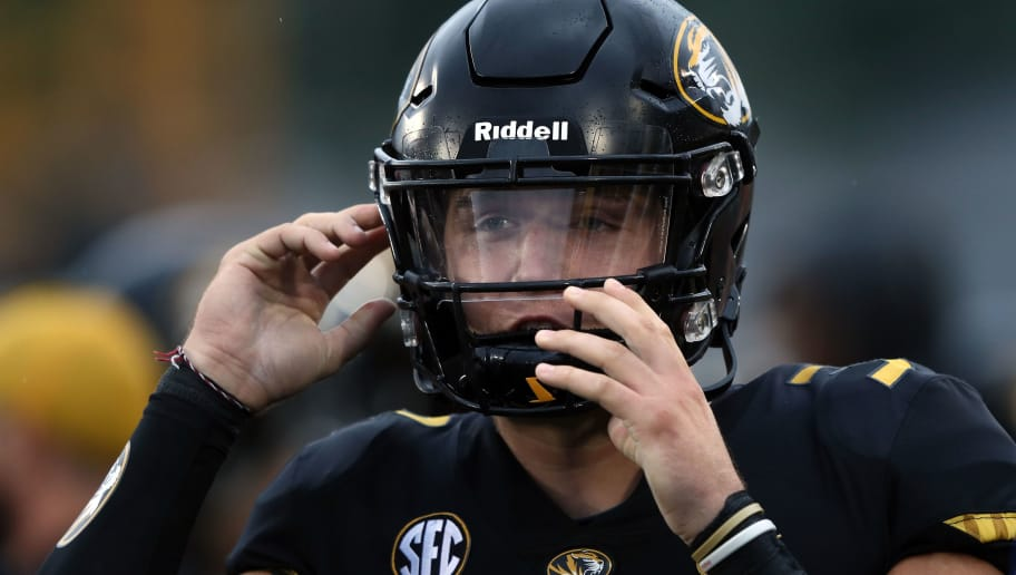 COLUMBIA, MO - SEPTEMBER 08:  Quarterback Drew Lock #3 of the Missouri Tigers rputs on his helmet on the sidelines during the 1st half of the game against the Wyoming Cowboys at Faurot Field/Memorial Stadium on September 8, 2018 in Columbia, Missouri.  (Photo by Jamie Squire/Getty Images)