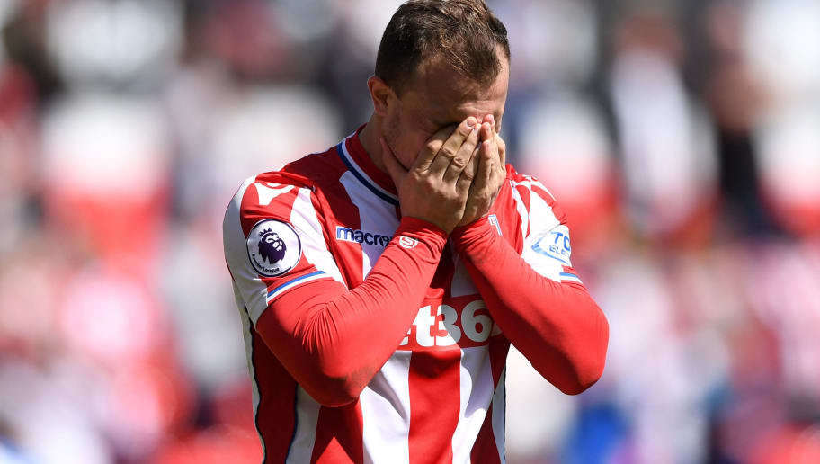 STOKE ON TRENT, ENGLAND - MAY 05:  Xherdan Shaqiri of Stoke City reacts at the full time whistle after the Premier League match between Stoke City and Crystal Palace at Bet365 Stadium on May 5, 2018 in Stoke on Trent, England.  (Photo by Gareth Copley/Getty Images)