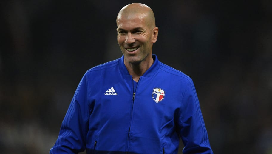 NANTERRE, FRANCE - JUNE 12:  Zinedine Zidane of France 98 reacts during warmup before the friendly match between France 98 and FIFA 98 at U Arena on June 12, 2018 in Nanterre, France.  (Photo by Aurelien Meunier/Getty Images)