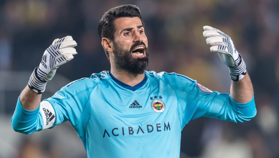 goalkeeper Volkan Demirel of Fenerbahce SK during the Ziraat Turkish Cup match Fenerbahce AS and Besiktas AS at the Sukru Saracoglu Stadium on April 19, 2018 in Istanbul, Turkey(Photo by VI Images via Getty Images)
