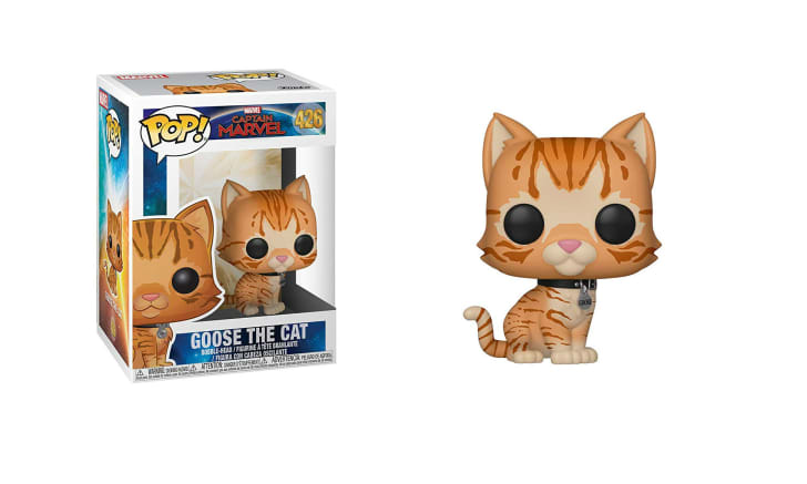 A Funko Pop! vinyl figure of Goose the cat from 'Captain Marvel' is pictured