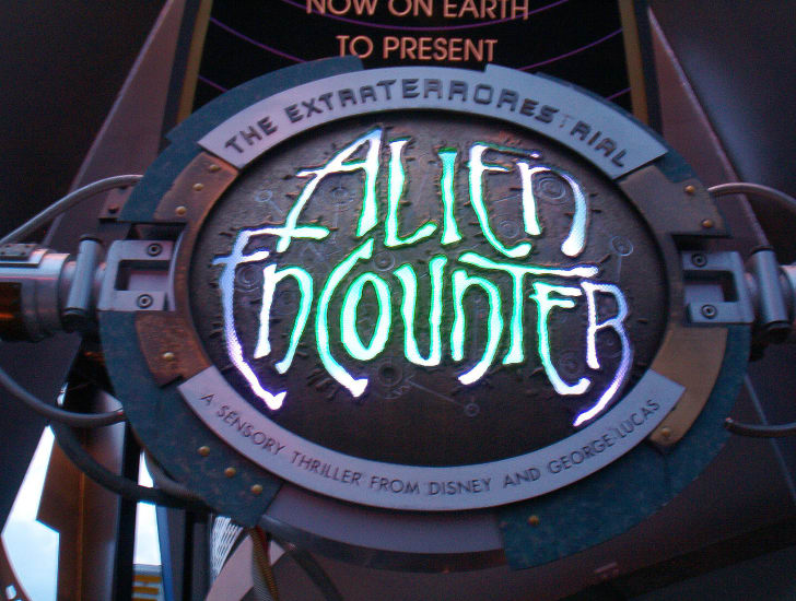 Sign outside ExtraTERRORestrial Alien Encounter.