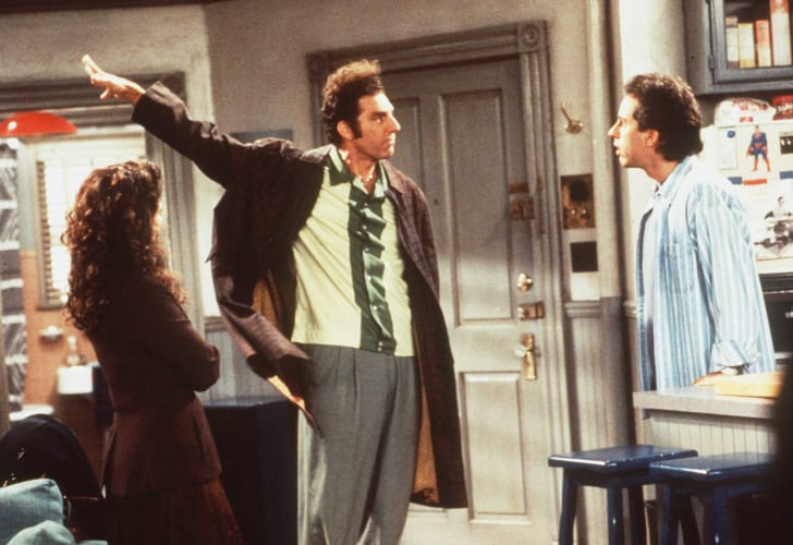 Julia Louis-Dreyfus, Michael Richards, and Jerry Seinfeld in a scene from 'Seinfeld'