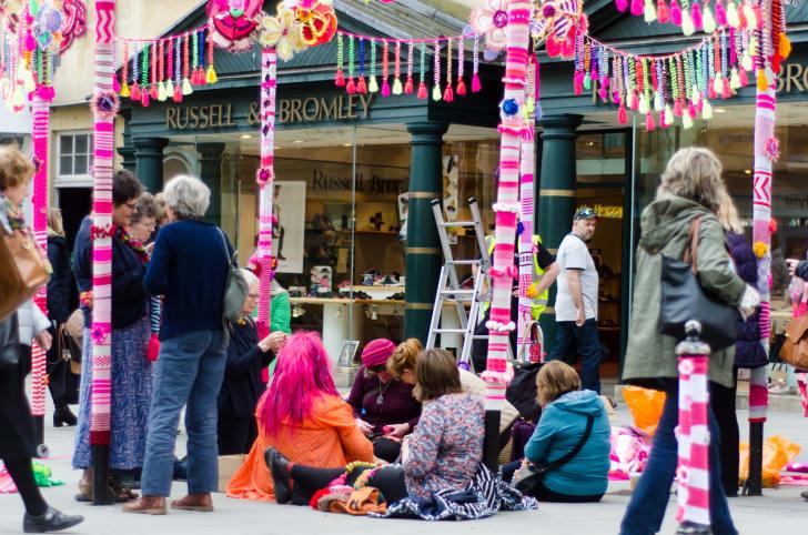 Yarn-bombing in Bath, Somerset, UK