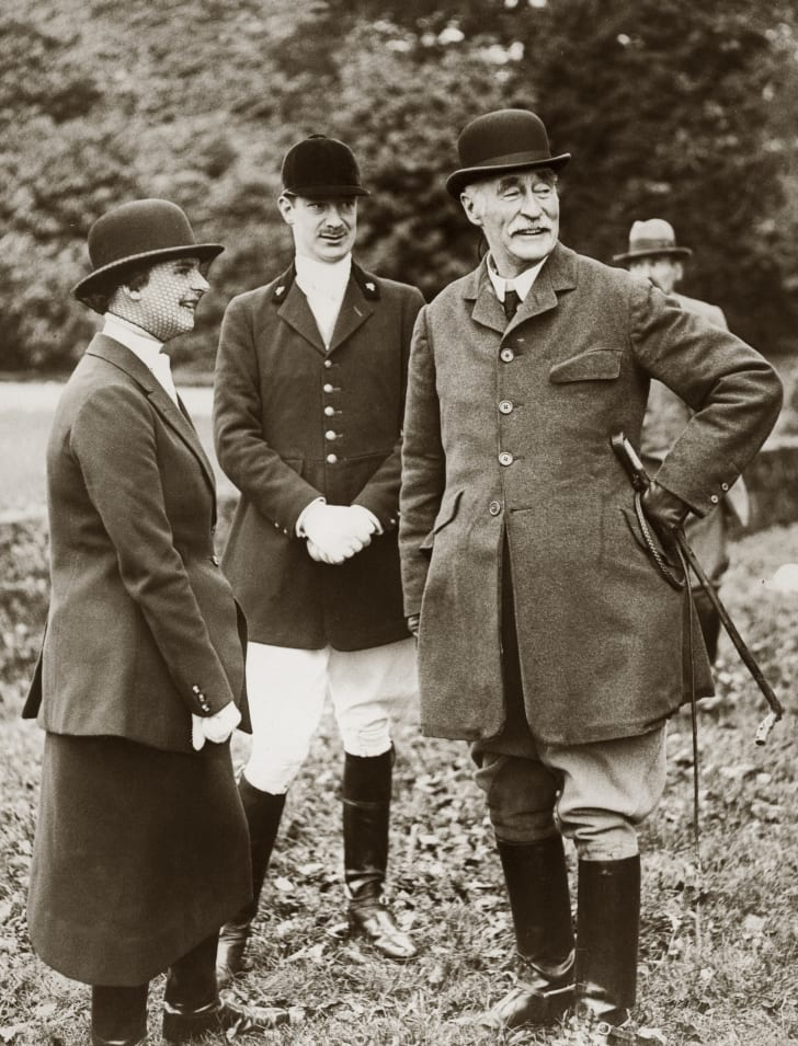 Arthur Charles Wellesley, the 4th Duke of Wellington, models the boots his great-grandfather helped make popular, circa 1930.