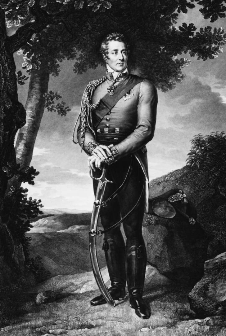 Arthur Wellesley, the 1st Duke of Wellington, in his German Hessian boots, circa 1814.