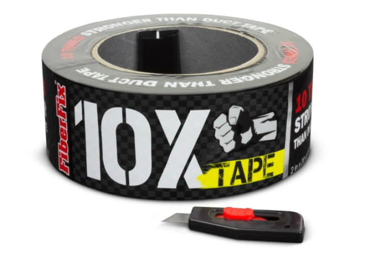 A roll of FiberFix repair tape is pictured