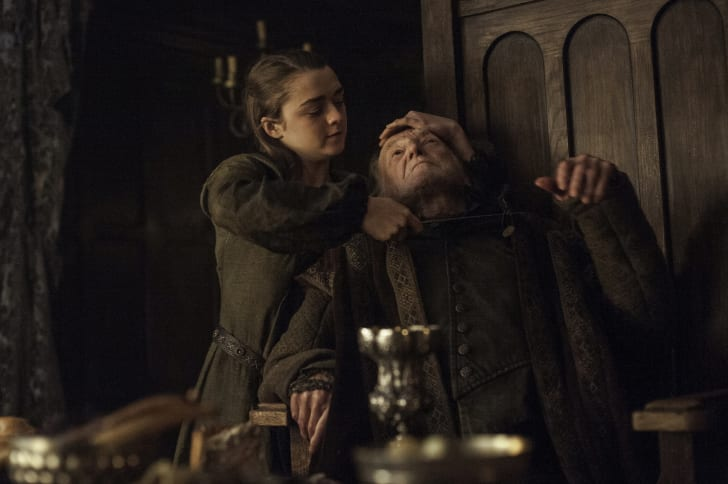 Maisie Williams and David Bradley in 'Game of Thrones'