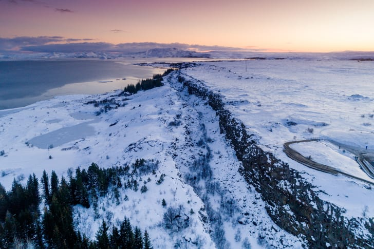 An aerial view of snow in Thingvellir National Park