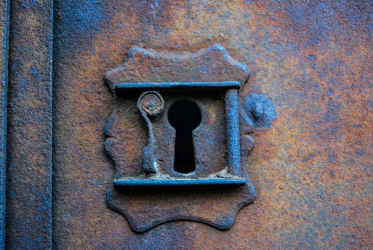 The keyhole of an antique lock