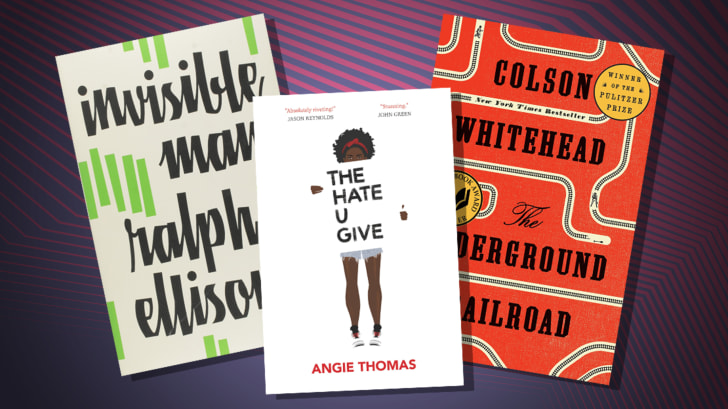 The covers of 'Invisible Man,' 'The Hate U Give,' and 'The Underground Railroad.'
