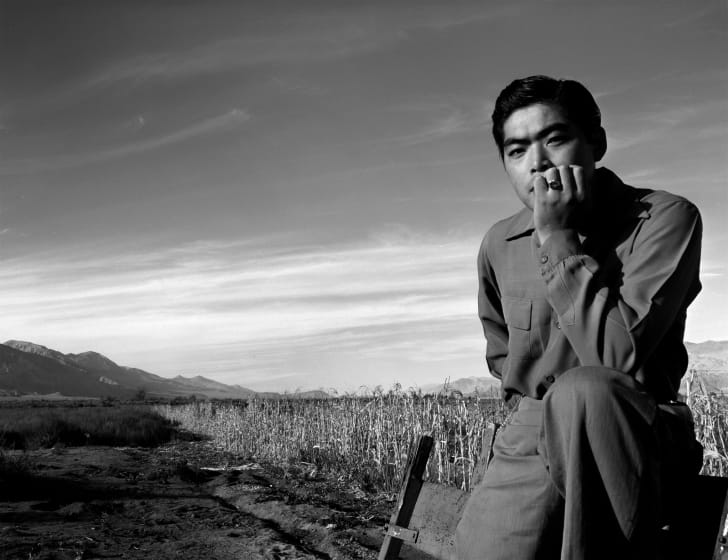 Portrait of internee Tom Kobayashi at Manzanar War Relocation Center, Owens Valley, California, 1943