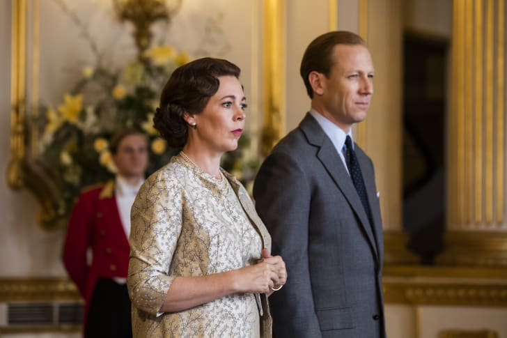 Olivia Colman and Tobias Menzies in 'The Crown'