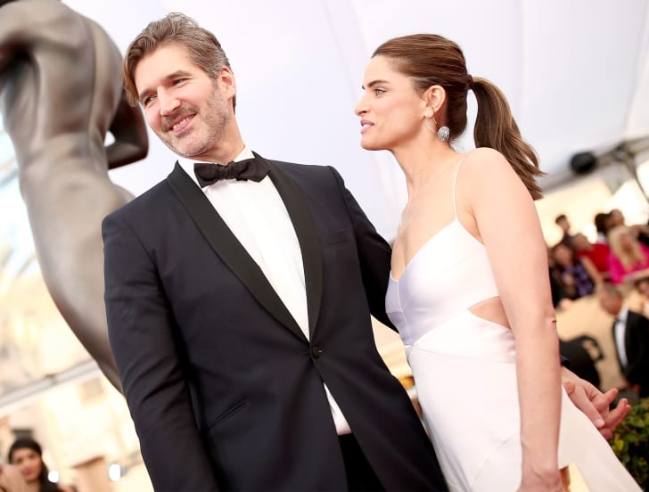 Producer David Benioff (L) and actress Amanda Peet attend The 22nd Annual Screen Actors Guild Awards at The Shrine Auditorium on January 30, 2016 in Los Angeles, California
