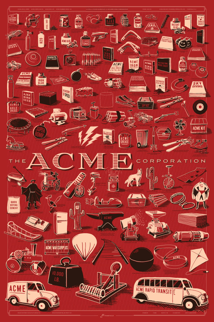A poster featuring illustrations of every Acme product