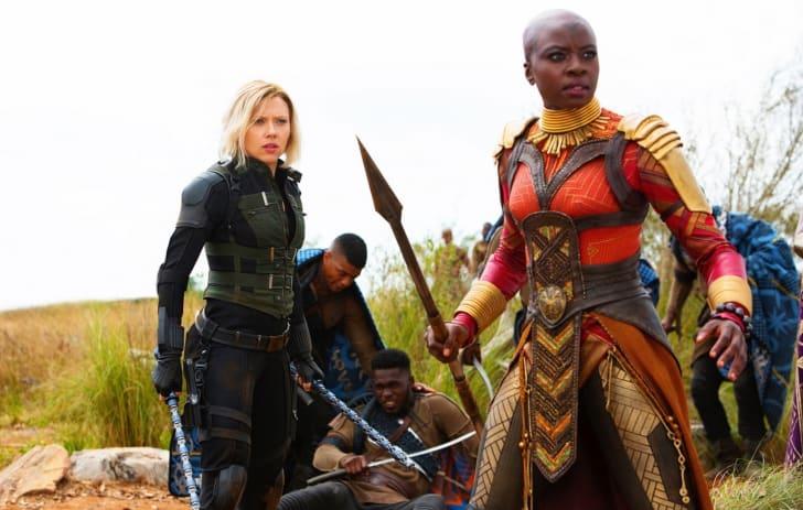 Scarlett Johansson and Danai Gurira in Avengers: Infinity War (2018)