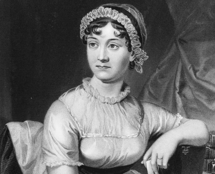 Novelist Jane Austen is depicted in an illustrated portrait