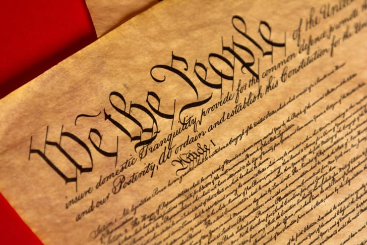 Close-up of the Constitution.