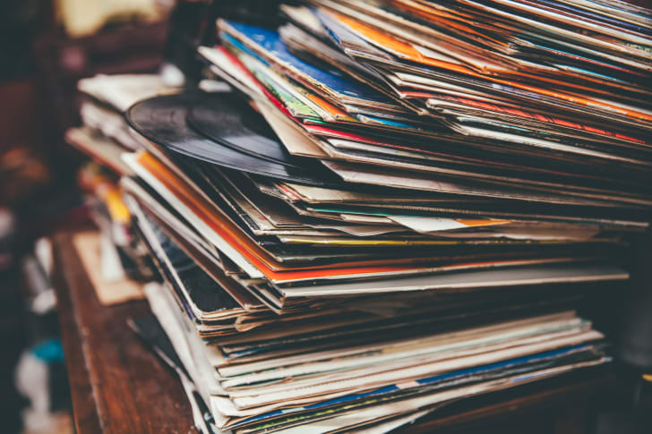 A stack of records.