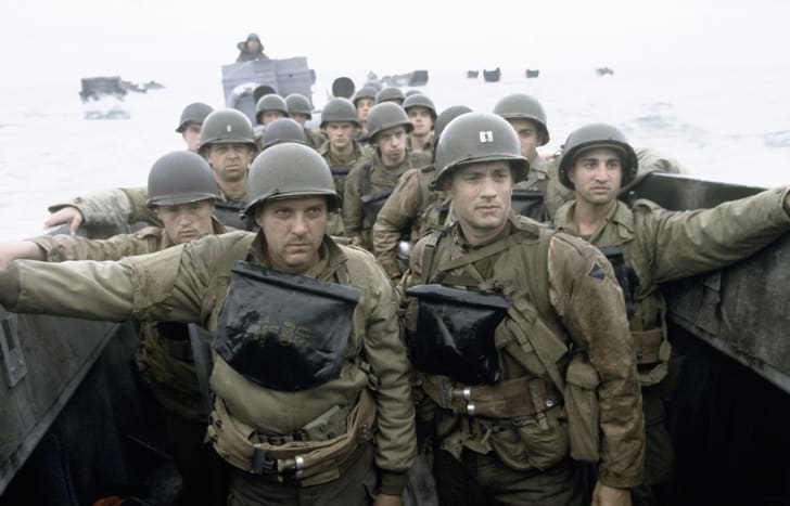 Tom Hanks, Tom Sizemore, Paschal Friel, Rolf Saxon, and Adam Shaw in 'Saving Private Ryan' (1998)