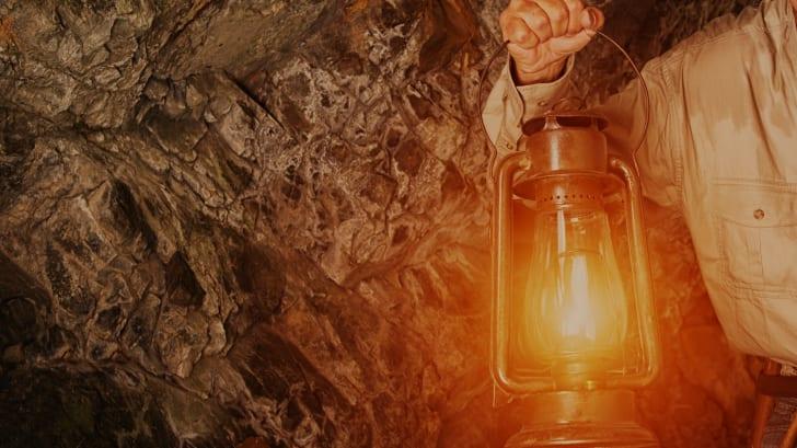 lantern in cave