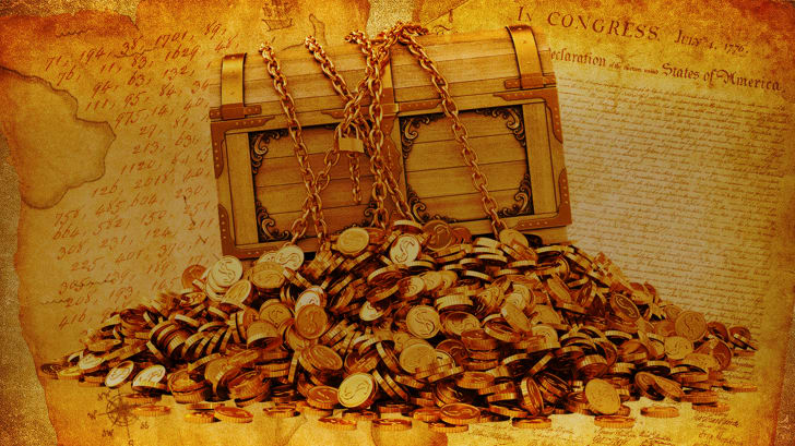 Buried treasure on top of a cipher and the declaration of independence.