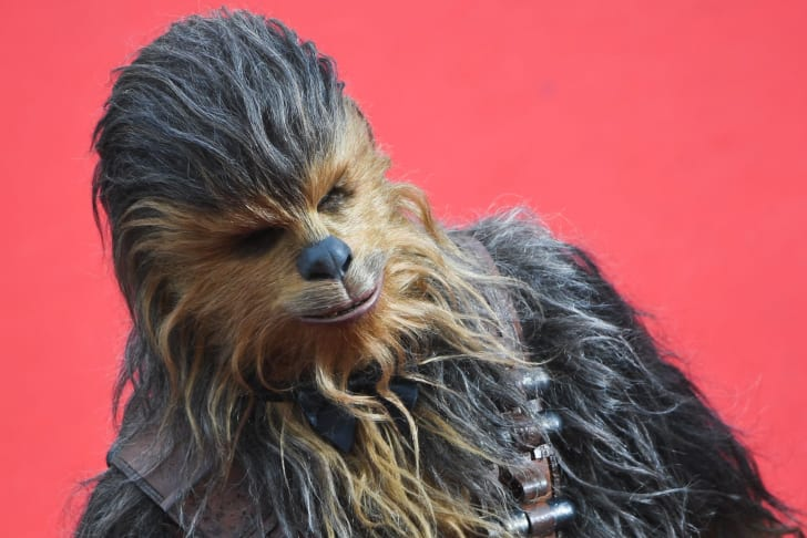 Chewbacca arrives on May 15, 2018 for the screening of the film 'Solo : A Star Wars Story' at the 71st edition of the Cannes Film Festival
