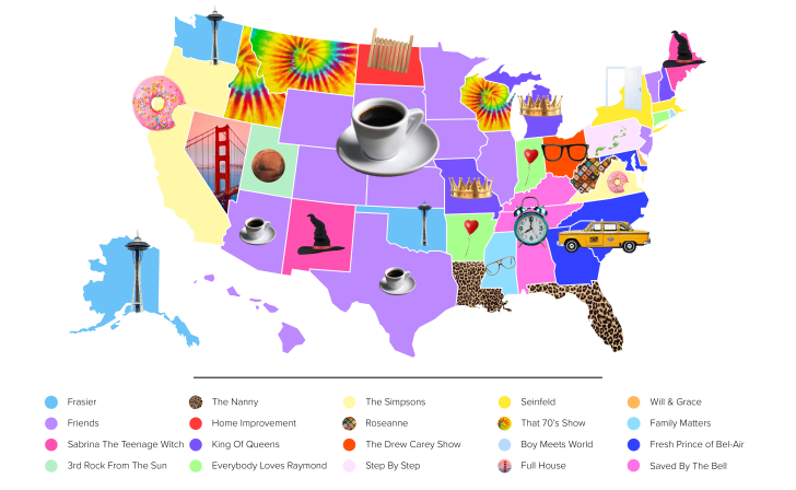 Each State's Favorite Sitcom from the '90s