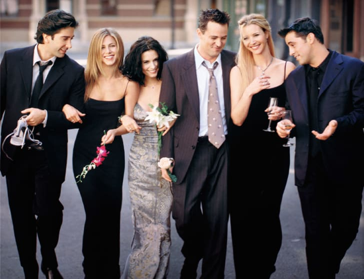 David Schwimmer, Jennifer Aniston, Courteney Cox, Matthew Perry, Lisa Kudrow, and Matt Leblanc in 'Friends.'