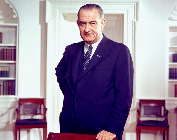 Photo of President Lyndon B. Johnson in the Oval Office.