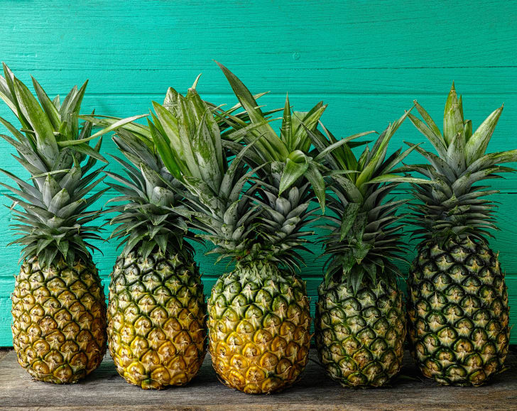 A bunch of fresh pineapples