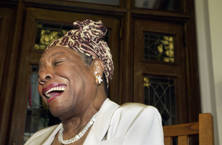 Maya Angelou laughs at the Abyssian Development Corporation's tenth annual Harlem Renaissance Day of Commitment, June 15, 2004 in New York City.