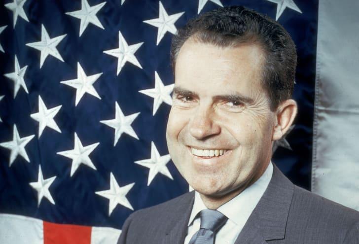 A portrait of 37th president Richard Nixon