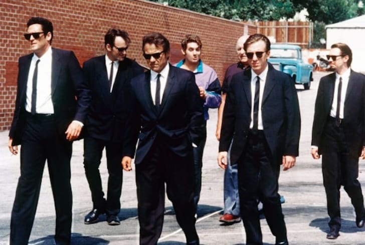 Steve Buscemi, Harvey Keitel, Quentin Tarantino, Michael Madsen, Tim Roth, Chris Penn, Edward Bunker, and Lawrence Tierney in Reservoir Dogs (1992)