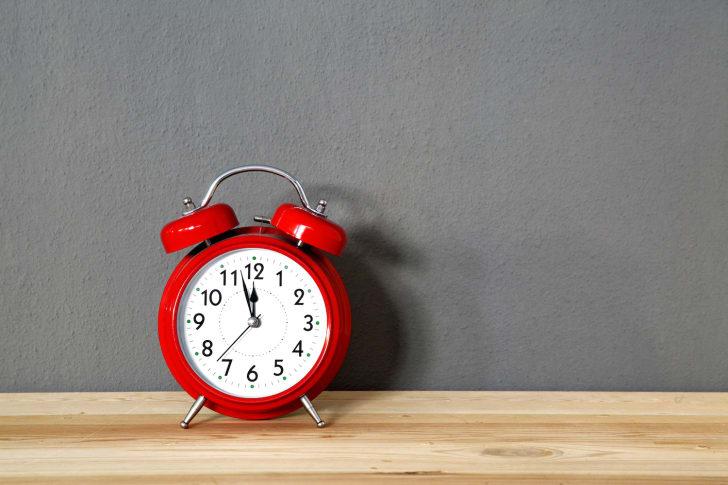 Alarm clock against a wall.