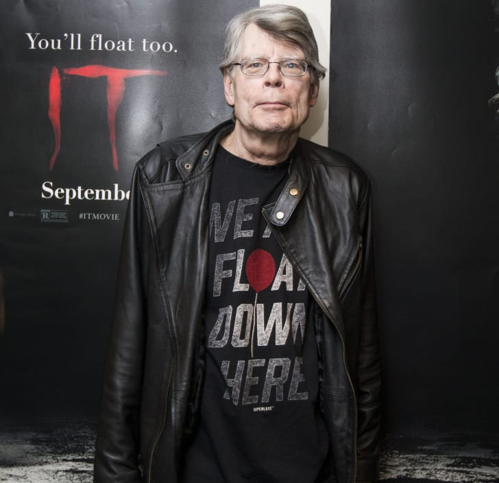 Author Stephen King poses at the premiere of IT in Bangor, Maine