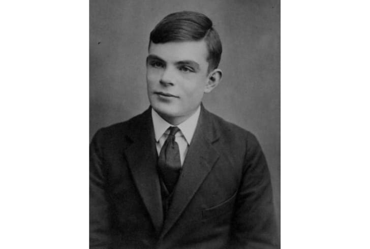Alan Turing poses for a school portrait at age 16.