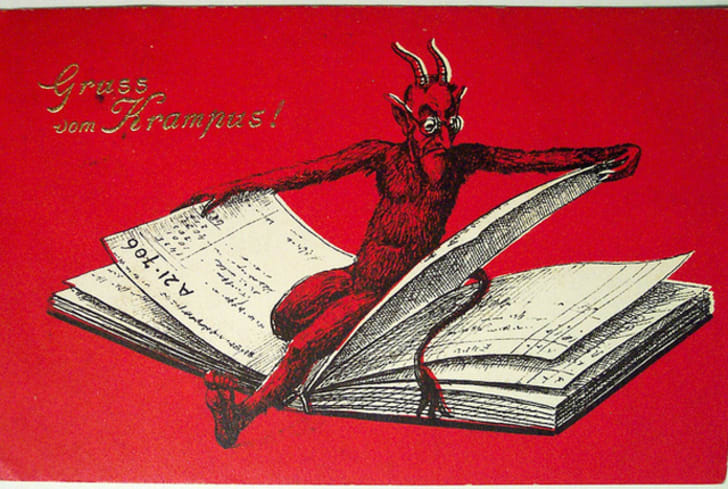 A vintage Krampus card