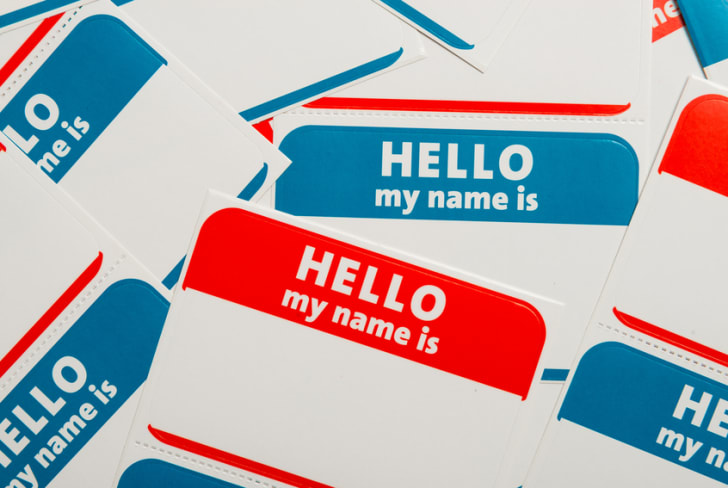 A stack of name tags