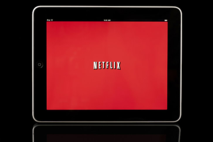 Apple iPad displaying Netflix app, Black with Reflection