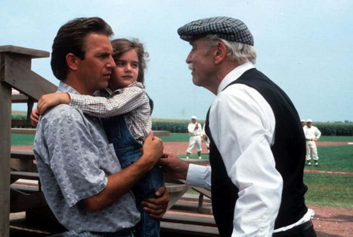 Kevin Costner, Gaby Hoffmann, and Burt Lancaster in 'Field of Dreams' (1989)