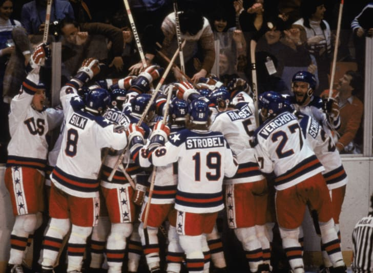 Team USA celebrates their 4-3 victory over the Soviet Union in the semi-final Men's Ice Hockey event at the Winter Olympic Games in Lake Placid, New York on February 22, 1980. The game was dubbed the Miracle on Ice. The USA went on to win the gold medal