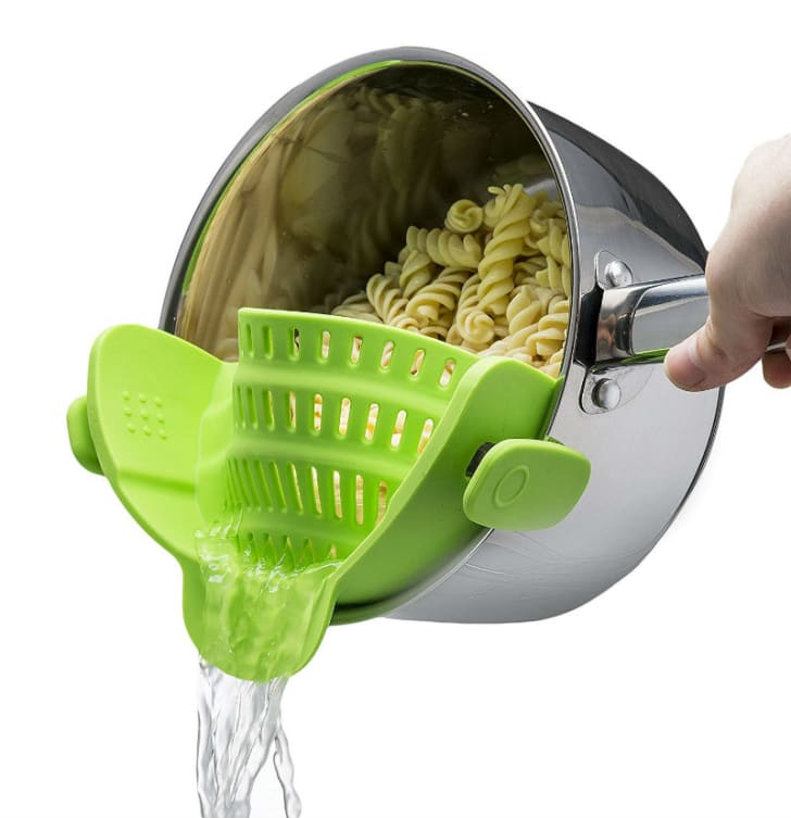 A Snap 'N Strain colander from Kitchen Gizmo is pictured