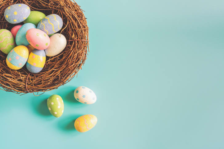 A nest of colorful Easter eggs