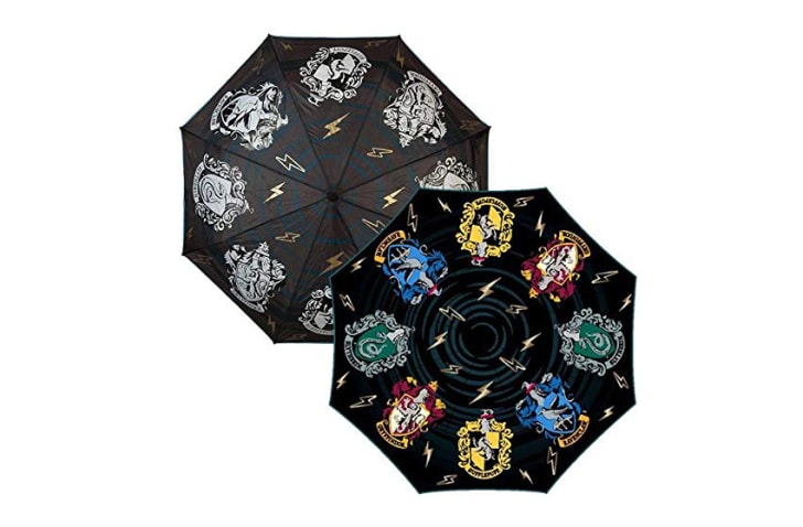 A black-and-white and a colored version of the Harry Potter umbrella