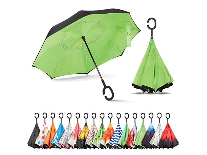 An open green Sharpty umbrella next to the same umbrella as it looks folded up